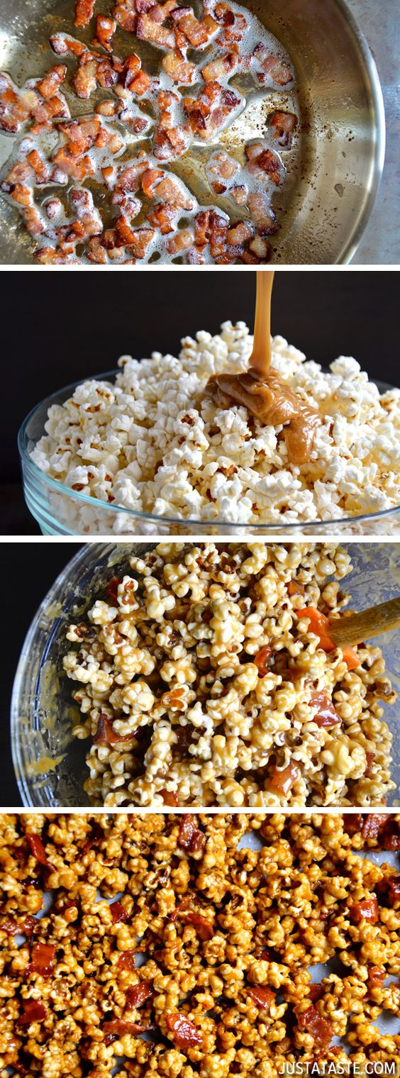 Homemade Caramel Popcorn with Bacon #recipe WHY HAVE I NEVER ENCOUNTERED THIS BEFORE? @Melody Gee Hancock