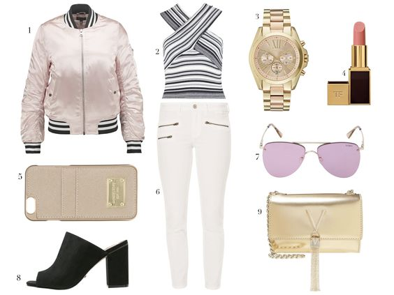 Bomber jacket+striped tip+white pants+mules. Summer Outfit 2016