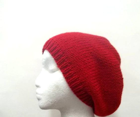 Knit Beanie red slouch acrylic Beret size medium by CaboDesigns, $24.00