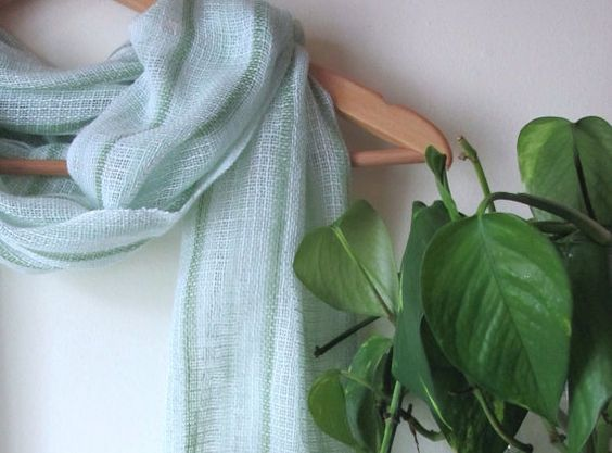 Green & White Stripe Light Lacy Statement Scarf, Spring Summer Cottage Garden Chic, Casual Urban Womens City Fashion, Artisan Handwoven