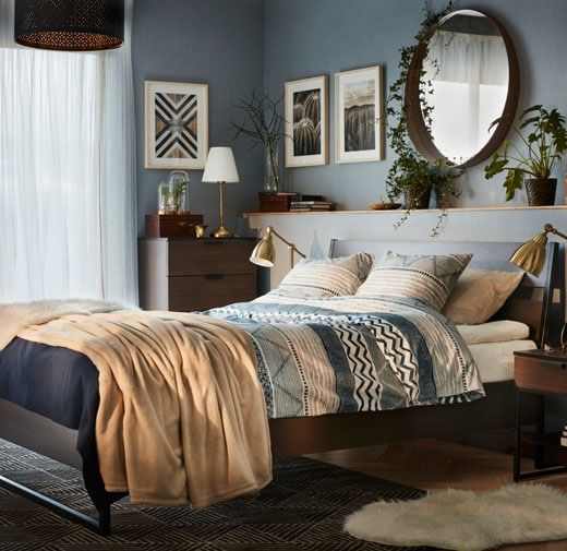 Trysil Bed Frame Dark Brown Luroy Brown Bed Frame Brown Bed Bed Decor