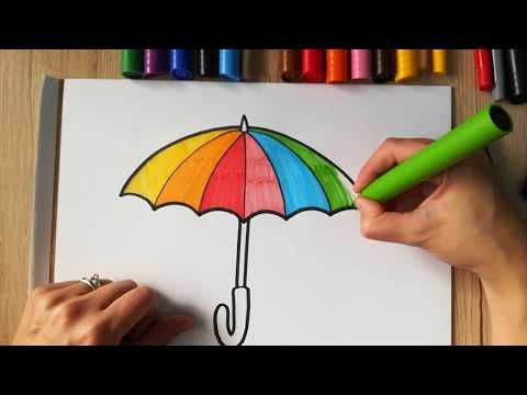 HOW TO DRAW a Colorful Umbrella - coloring with markers ...