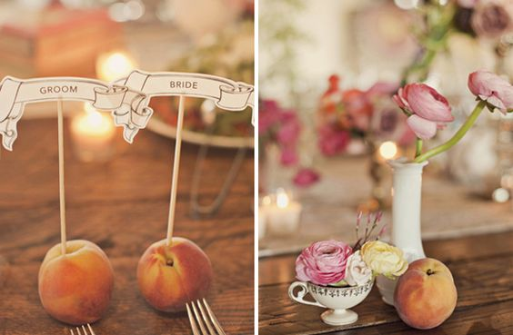 Peach place cards.