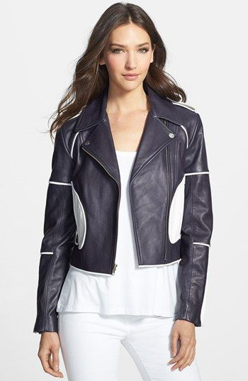 Love the details on this jacket! Diane von Furstenberg 'Kenzie' Leather Moto Jacket available at #Nordstrom