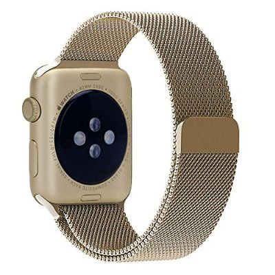 GEOTEL® Apple Watch Band 38mm, Milanese Loop Stainless Steel Bracelet Strap Band for Apple Watch 38mm All Models with Unique Magnet Lock(No Buckle Needed) (Gold)