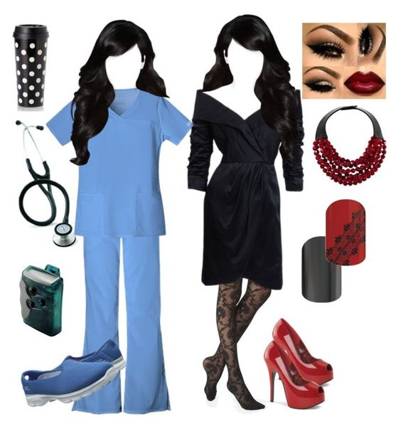 """""""Dr. Callie Torres"""" by shemomjojo ❤ liked on Polyvore featuring moda, Express, Cherokee, Skechers, Kate Spade y Fairchild Baldwin"""