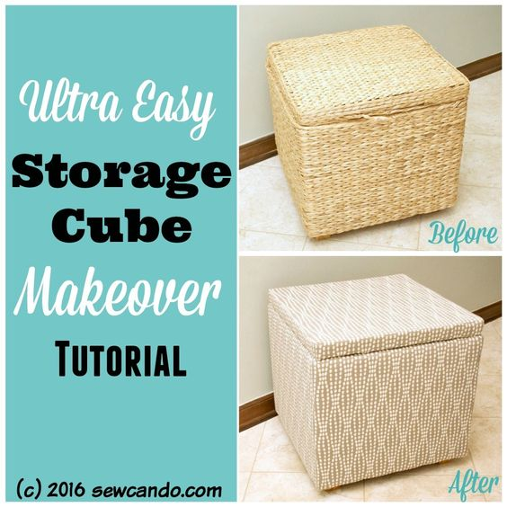 Sew Can Do: The Reupholstered Storage Cube ANYONE Can Do
