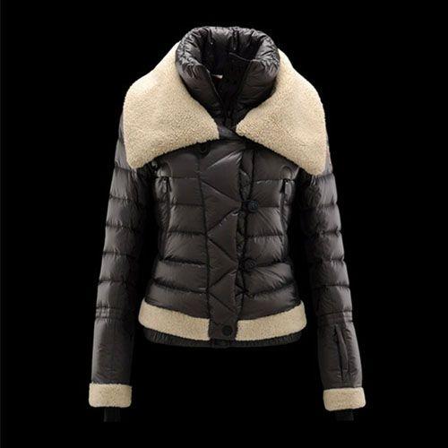 Cheap Moncler Down Coats Women 2013 Style In Grey Black