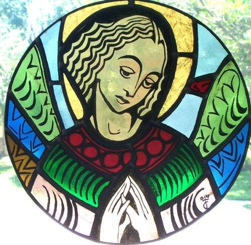 Stained Glass and Painted Angel. Click to view full size image