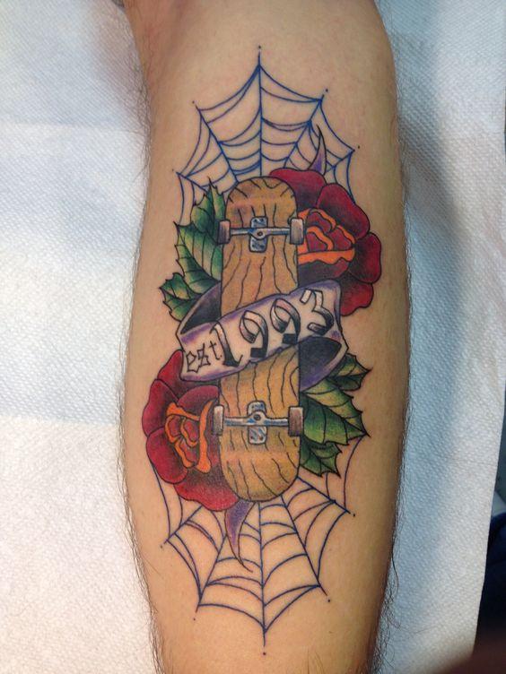 Old school skateboard tattoo by blue fin tattoo tattoos for Tattoo school listings