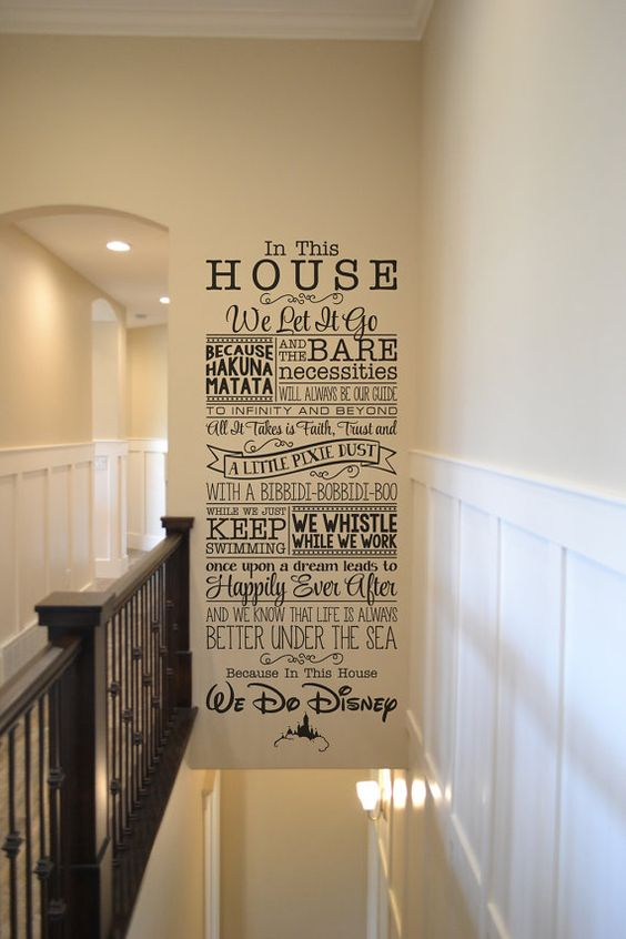 In this house Disney BM544vinyl wall lettering sticker decal home decor Walt Disney we do Disney