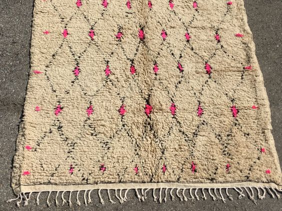 PINK DOTS VIntage Moroccan Azilal rug 220   by ChameleonRugCo