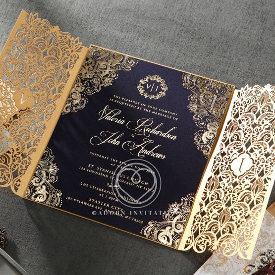 Luxury Invitation Navy Gold Foil Imprinting Gate Fold Wedding Card Design Indian Glamorous Wedding Invitations Muslim Wedding Invitations