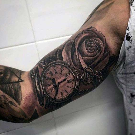 55 Best Inner Bicep Tattoos Designs And Ideas For Men And Women Watch Tattoos Pocket Watch Tattoos Bicep Tattoo