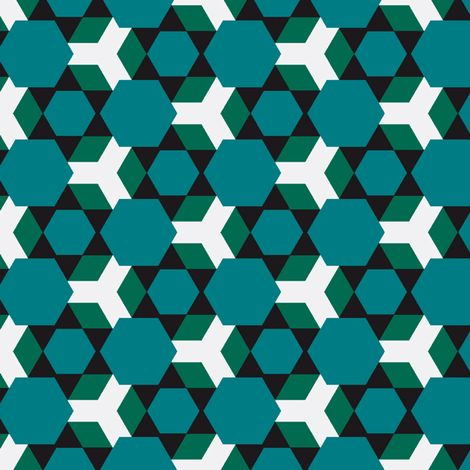Bellevoys Blue and Green fabric by stoflab on Spoonflower - custom fabric