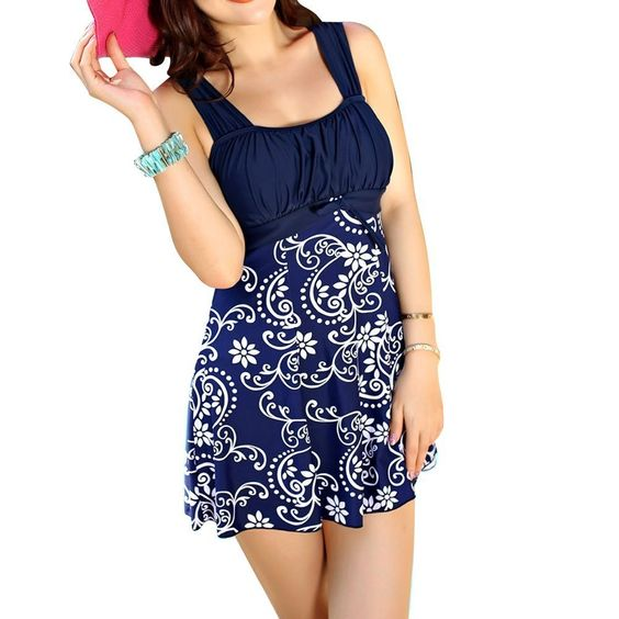 Plus size Modest Elegant Padded One Piece Swimdress Butterfly Floral Dress Swimsuit - great for maternity swimwear too! http://stuccu.com