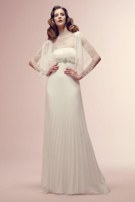 vestido de noiva #vintage ROISIN com saia plissada de  Alessandra Rinaudo #casarcomgosto