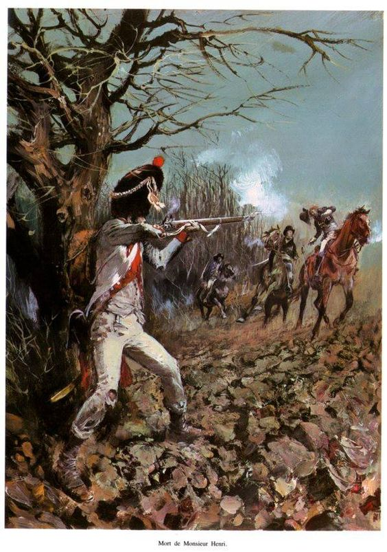 Spanish Grenadier fires on approaching French scouting party.