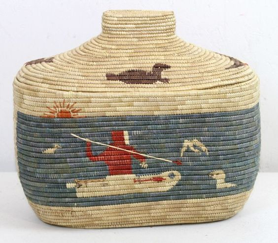 Yupik Eskimo Beach Grass Basket