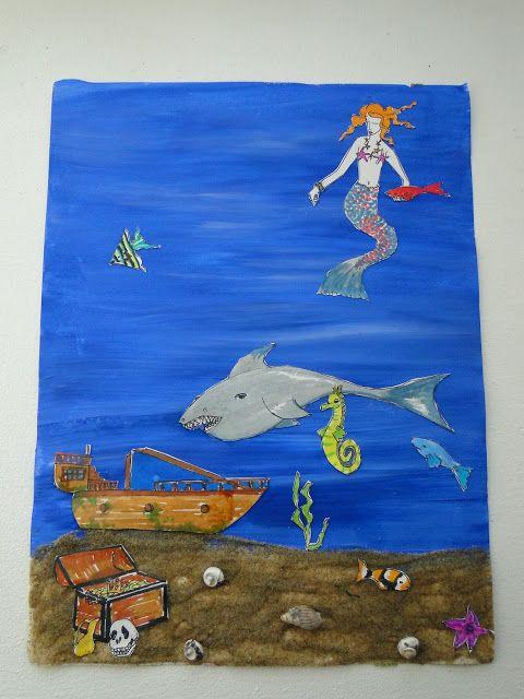 fond marin réalisation de collage et découpage sur atelier 3b boite à idées créatives pour les enfants