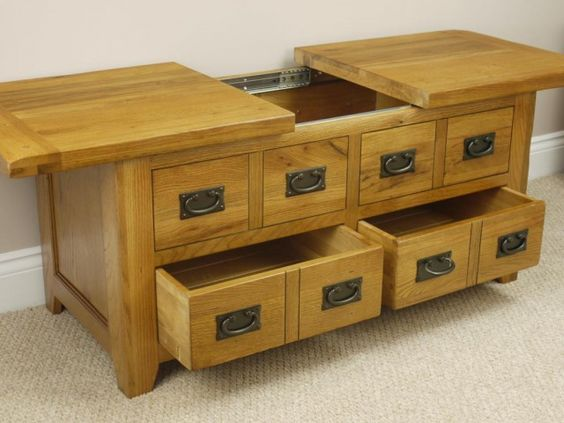 Rustic Oak Coffee Table With Sliding Storage Coffee Table Furniture Rustic Oak Coffee Table Coffee Table With Drawers