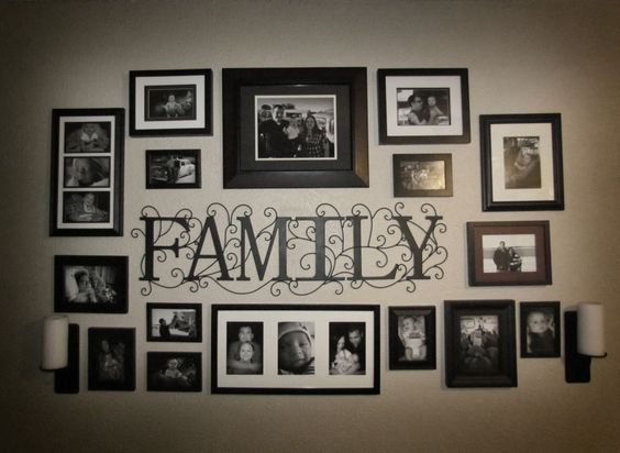 """Photo Collage idea for the wall...we can cut the """"Family"""" out of vinyl"""