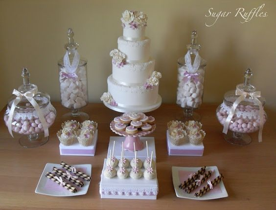 Sugar Ruffles, Elegant Wedding Cakes: Pink and White Dessert Table