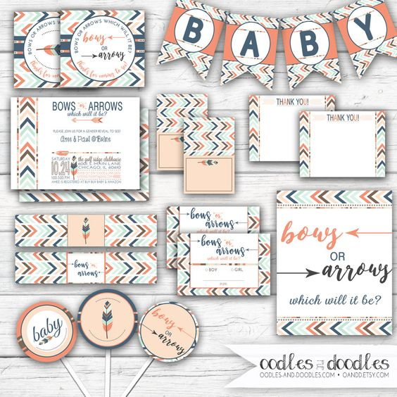 Gender Reveal Party, Tribal, Boho, Gender Reveal Decorations, Gender Reveal, Baby Shower, Tribal Party Printables, Printable Party Package by OandD on Etsy