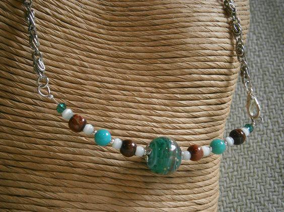 Swirling hues in teal Doodlebert Designs | Necklaces