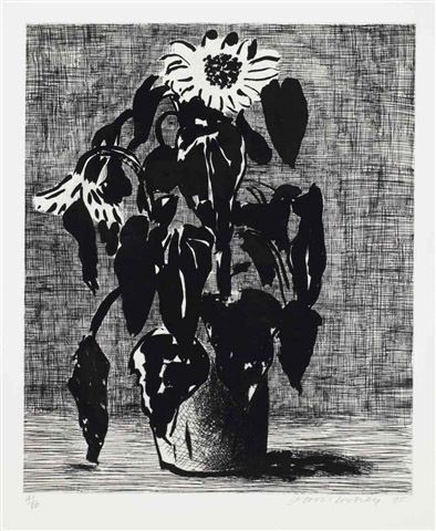 """""""Sunflower"""" by David Hockney, 1995 (etching and aquatint)"""