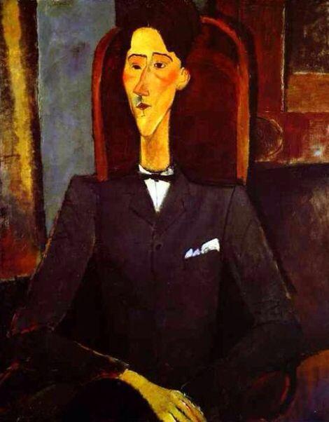 - Modigliani - Portret van Cocteau - 1916 - De man kijkt weg en kijkt sip. Dit portret heb ik gekozen omdat je er expressie in ziet. Hij is gekleedt alsof hij aan het werk is. Misschien is hij boos of verdrietig omdat er iets misgaat in zijn bedrijf. Bijna alle portretten zijn heel realistisch, bij andere portretten zien ze er heel echt uit. Bij dit portret zijn alle lijnen recht. Daarom is dit portret speciaal en daarom koos ik dit portret.