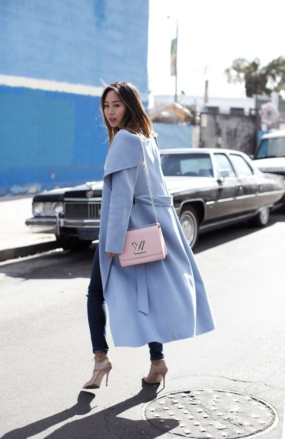 Aimee Song of Style wears a blue wool coat from Mackage: