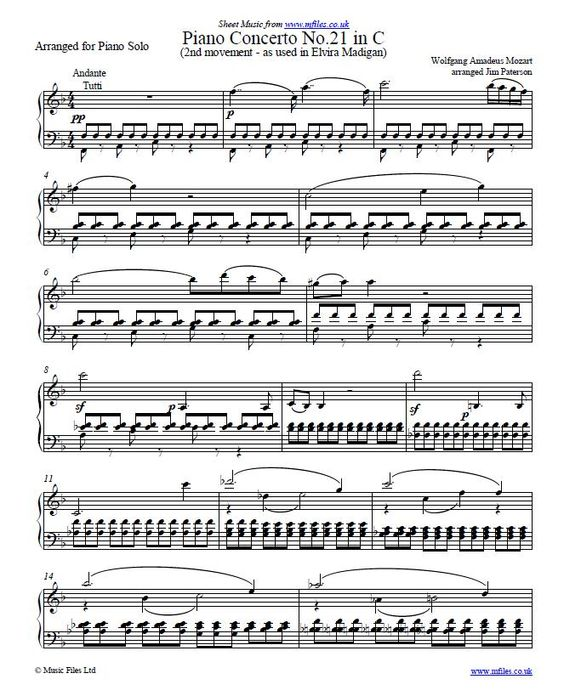 The Slow Movement Of Mozart's Piano Concerto No.21 In C