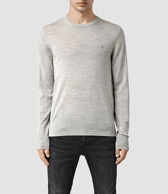 Men's Mode Merino Crew Jumper (Light Grey Marl) -
