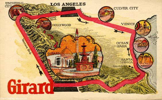 Advertisement and bus ticket to see the town of Girard (verso), circa 1920s. A bus picked people up at 518 South Hill Street in Los Angeles at 9:30 a.m. and drove them to Girard. Per the advertisement, in Girard there were horses to ride, a swiming pool, the Girard Golf Club, and the Girard Inn. Girard was intothe city of Los Angeles in 1945, and renamed Woodland Hills. West Valley Museum. San Fernando Valley History Digital Library.