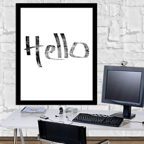 Hello Print Wall Decor Poster Typography Poster Hello Art Calligraphy Print Digital Print Ouote Print Digital Typography Art 8X10 11x14 by sweetdownload on Etsy