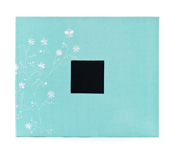 American Crafts - Patterned Cloth Album - 12 x 12 D-Ring - Robin's Egg with Embroidered Flowers at Scrapbook.com $23.74