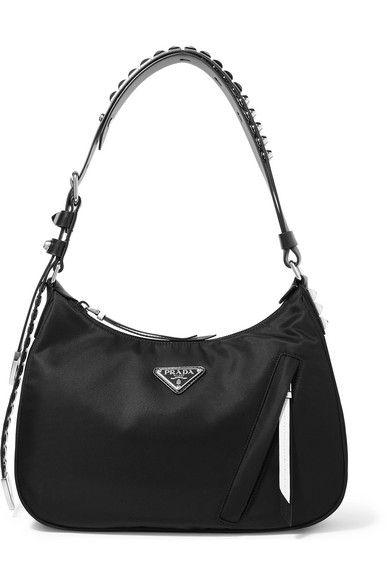 Prada - Vela Studded Leather-trimmed Shell Shoulder Bag - Black