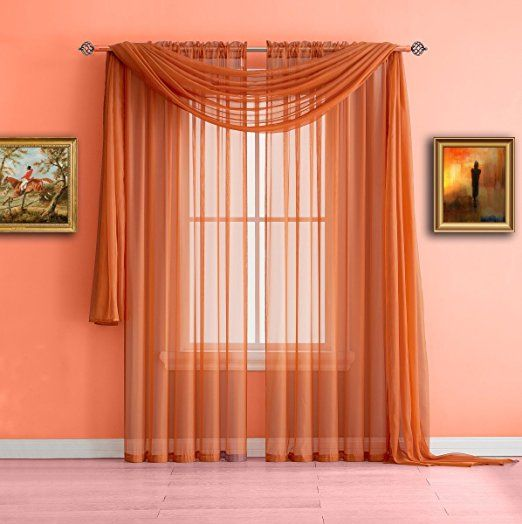Warm Home Designs Pair Of Standard Length Bright Orange Sheer Window Curtains Each Voile Drape Is 56 X 84 Inches In Size Gre House Design Sheer Curtains Home