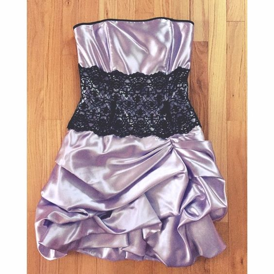 SUMMER SALE!!! cocktail dress Lavender cocktail dress embellished with black lace. Super cute for a fancy night out or prom/homecoming! I had the best time in it! Jessica McClintock Dresses Strapless