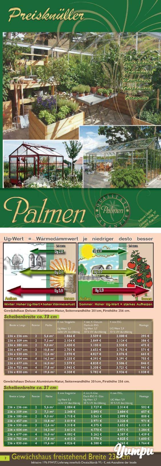 Gewächshaus Preisknüller 2014 / 2015 Palmen-GmbH Aachen.pdf-Gewächshäuser, Anlehnhäuser, Mauerhäuser, Orangerien, Anbauorangerien, Glaspavillons