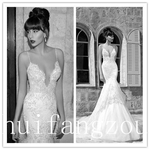 2014 Sexy Ivory Spaghetti Strap Sweetheart Mermaid Wedding Dresses Gown Custom