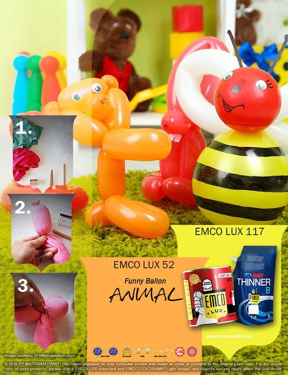 Kawan EMCO, mungkin Anda pernah memberikan mainan binatang-binatangan dari balon pada anak-anak Anda, tapi sayang ya, kok balonnya jadi cepat kempes.  Kawan EMCO terinspirasi dari warna-warni mainan anak ini, Anda bisa ungkapkan dalam keindahan hunian Anda dengan warna EMCO LUX 52 dan EMCO LUX 117 dari palet EMCO. Untuk artikel menarik lainnya Anda dapat mengunjungi kami di http://matarampaint.com/news.php.