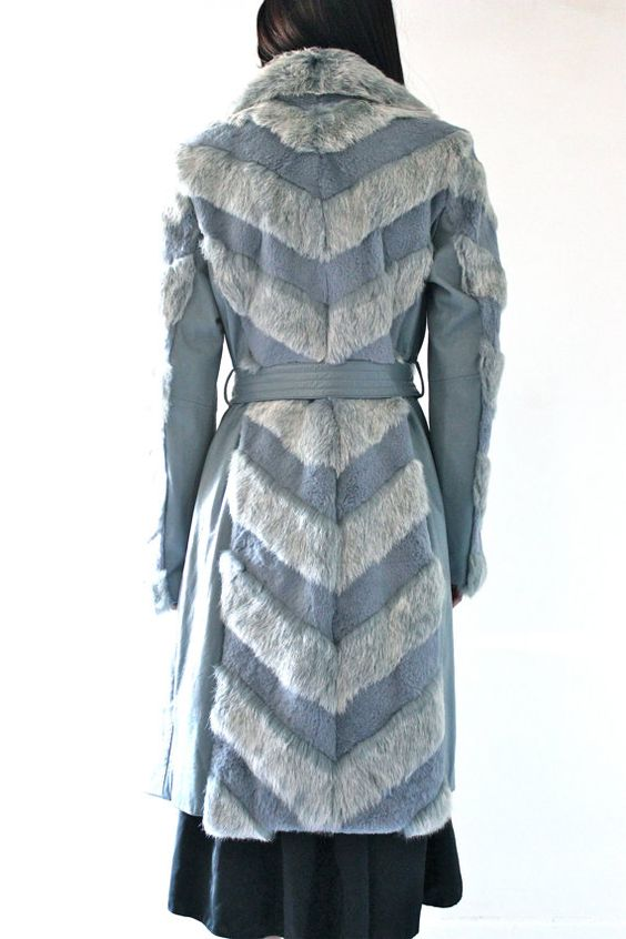 90s Chevron Striped DYED FUR blue Belted trench Club par hella90s