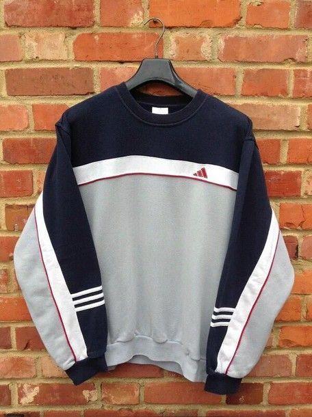 Vintage 80s adidas hoodie heather gray navy by
