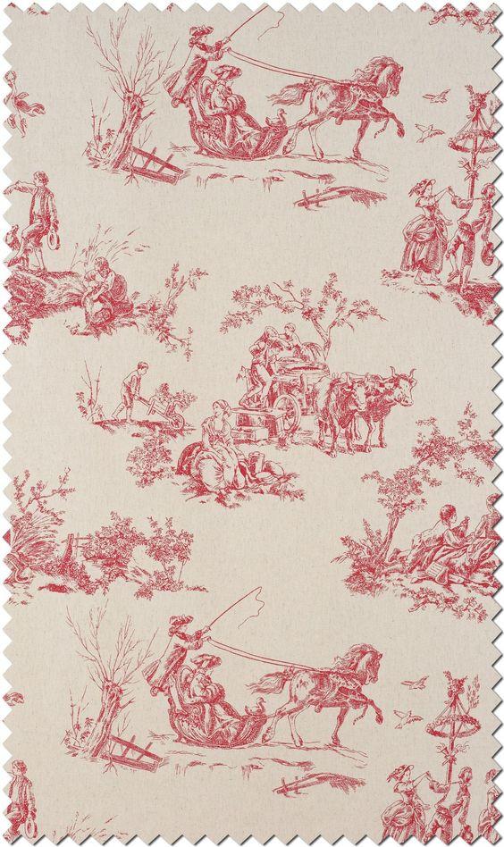 Toile de jouy fabric collection of casadeco amboise - Chambre toile de jouy ...