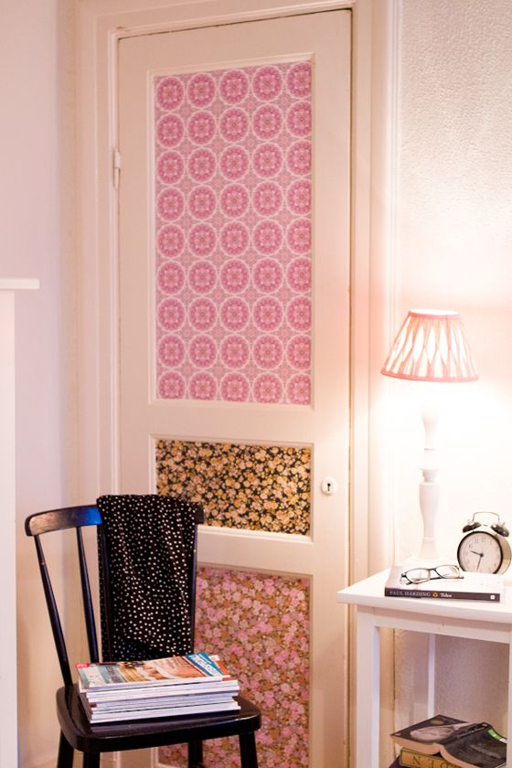 {Wallpaper in Surprising Places} How funky is this wallpapered door?! #wallpaper