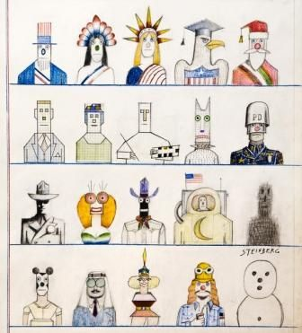 Infographic Ideas infographic illustrators society of new york : Saul Steinberg Twenty Americans, ©The Saul Steinberg Foundation ...