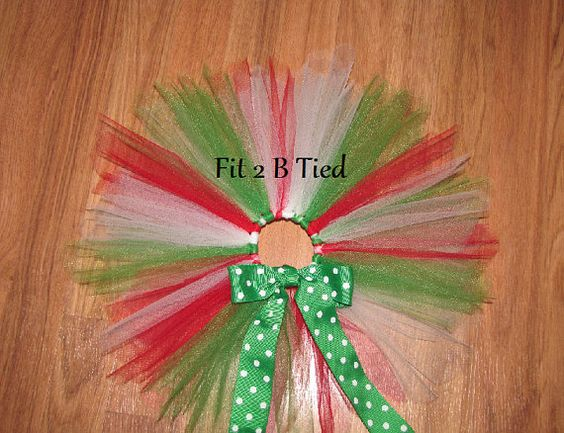 Toddler Christmas Tutu Red Green & White  Pixie by Fit2BTiedTutus, $20.00