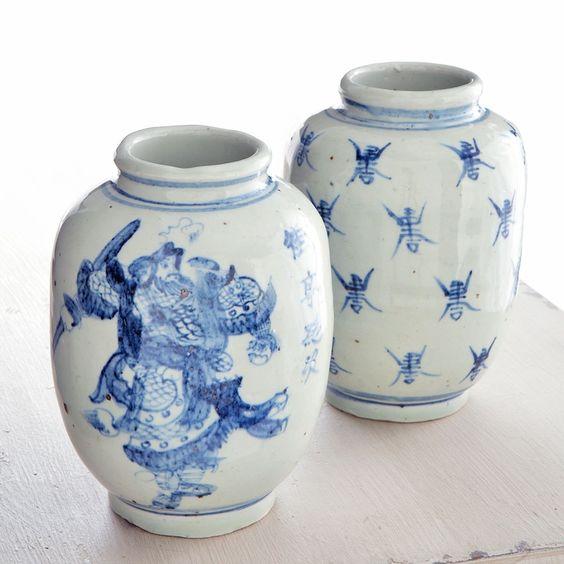 blue and white decoratve accents | W5492 Door God Porcelain Pot Decorative Accents
